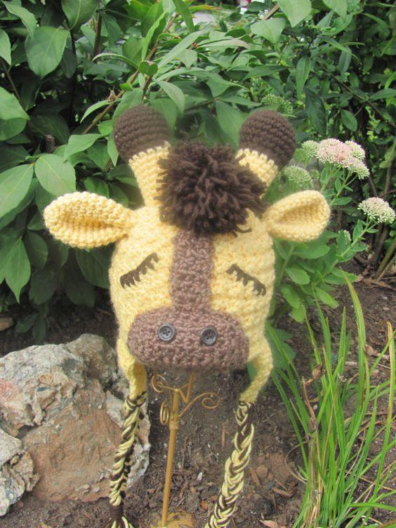 Crochet Giraffe Hat Pattern For Dogs : Crochet PATTERN Gentle Giraffe Animal Crochet Hat Pattern ...