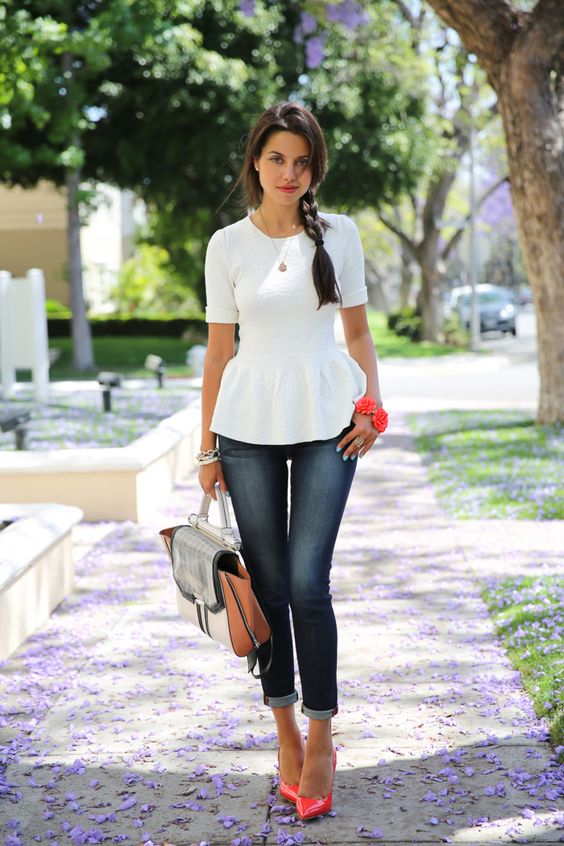 White Peplum, Skinny Blue Jeans   Miu Miu Red Patent Pumps | Looks ...