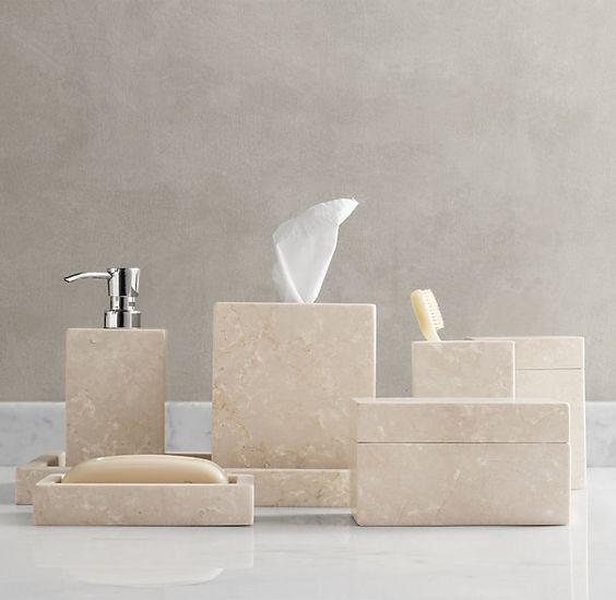 Restoration hardware stone bath furnishings set i for Restoration hardware bathroom accessories