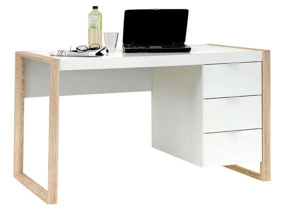 bureau 3 tiroirs frame coloris ch ne et blanc vente de