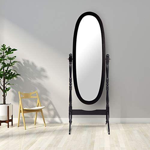 Giantex Bedroom Wooden Floor Mirror Full Length Cheval 100 Solid Oak Wood Frame Rustic Rota In 2020 Bedroom Wooden Floor Floor Mirror Mirror