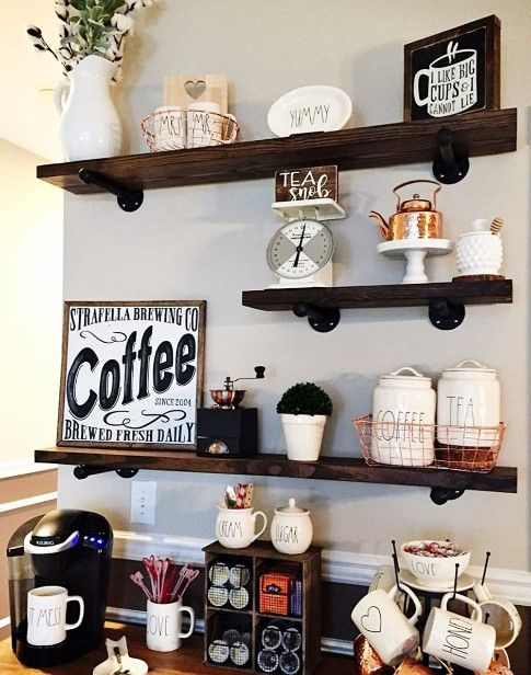 50 Diy Coffee Bar Ideas Inside The Home For Coffee Enthusiast Coffee Bar Home Coffee Kitchen Rustic Floating Shelves