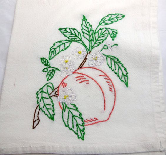 Peach Blossoms - Dish Towel - Hand Embroidery