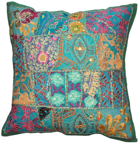 Decorative Throw Pillow Covers Accent Pillow Couch Pillow 24x24 Inch Green Pillow  Cover Sequins Beads Embroidery