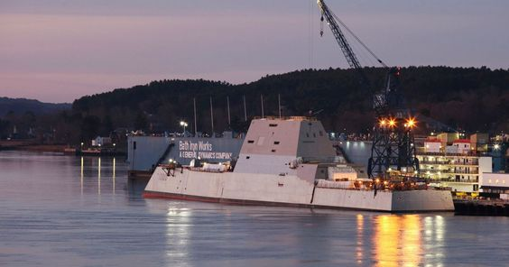 The futuristic American destroyer, named the USS Zumwalt, is the naval version of a stealth bomber and is the deadliest vessel ever built