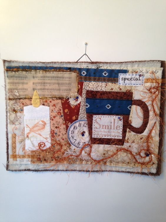 Mini art quilt, art quilt, mini quilt, collage, textile art, quilt, fabric assembly, embroidery, repurposed, upcycled, vintage, fabric art
