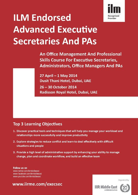 ILM endorsed Advanced Executive Secretaries And PAs - This ILM endorsed Advanced Executive Secretaries And PAs course focuses on equipping you with the necessary professional skills required to do your job effectively, contributing to your own, your boss's and your organisation's success.  - See more at: http://www.informa-mea.com/Training/execsec