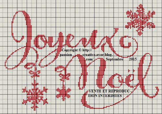 Grille gratuite point de croix : Joyeux Noel et Flocons - Le blog de Isabelle