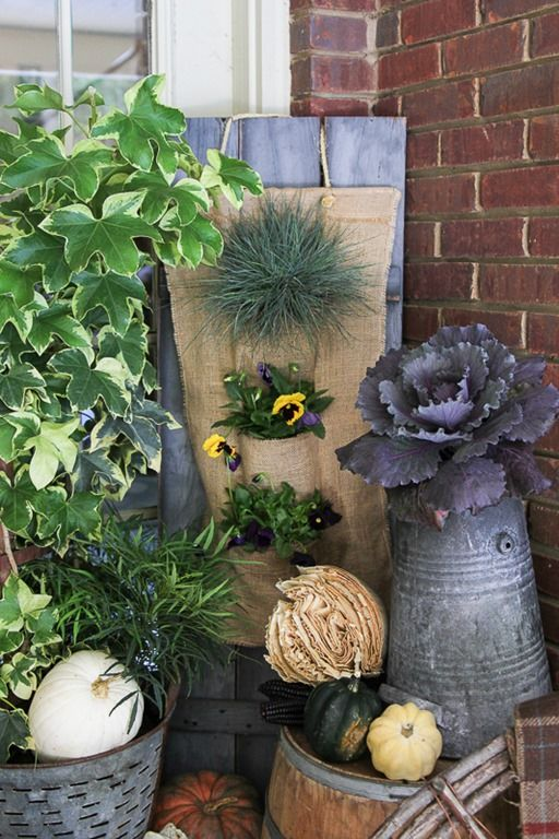 Porch decorating ideas for Fall -- love that purple cabbage in the galvanized coal bucket!