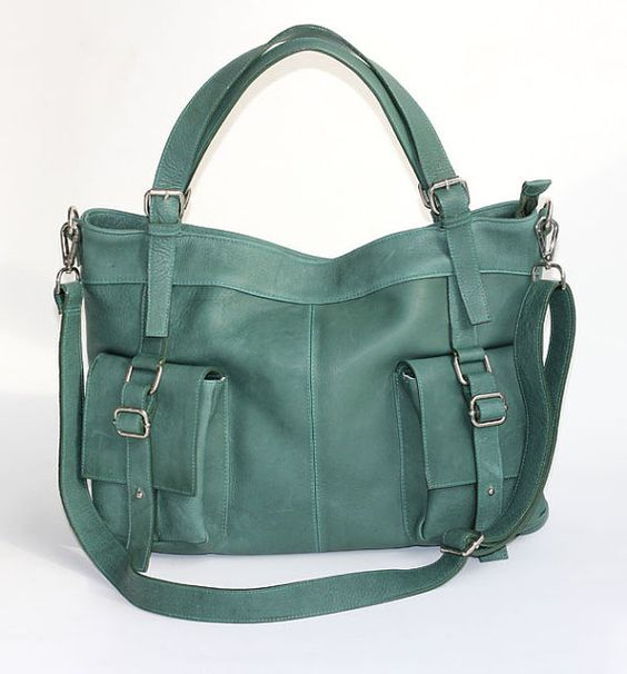 leather messenger tote Forest Green Large por zhenunleathers