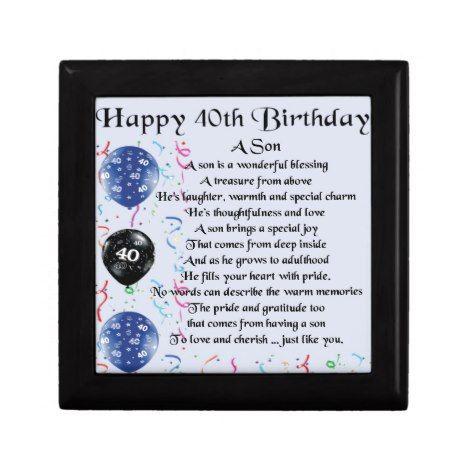 Son Poem 40th Birthday Design Gift Box Zazzle Com Birthday Keepsakes 40th Birthday 21st Birthday Gifts