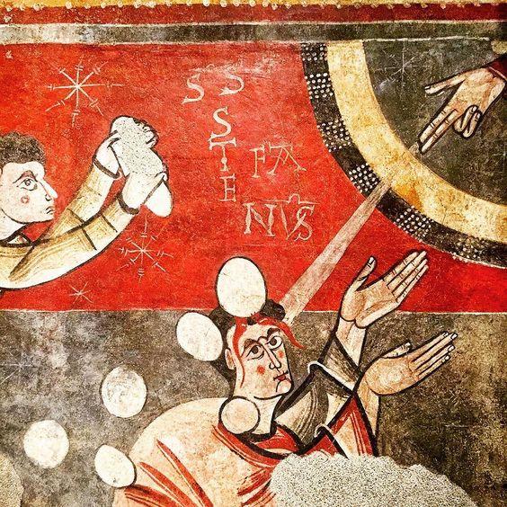 La lapidation de saint Etienne.  Lapidació de sant Esteve  C  1100 Museu d'Art de Catalunya.