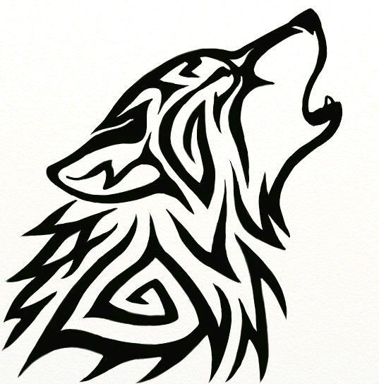 Tribal howling wolf