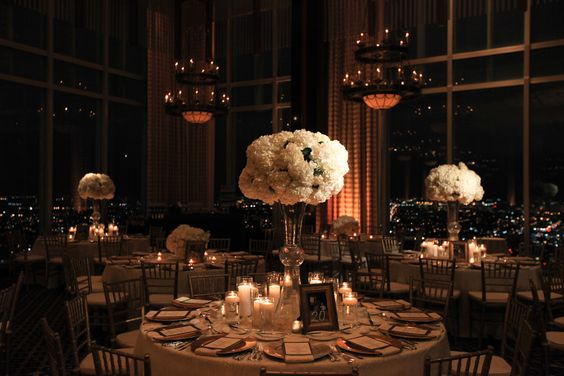 Beautiful table setting with white flowers