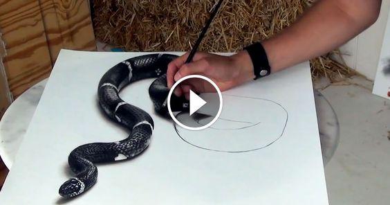 Stefan pabst r alise ce magnifique dessin de serpent en 3d - Dessin de serpent ...