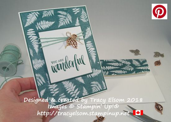 Masculine Card created using the Rooted in Nature Stamp Set, Nature's Poem Designer Series Paper and copper Leaves Trinket from Stampin' Up! http://tracyelsom.stampinup.net