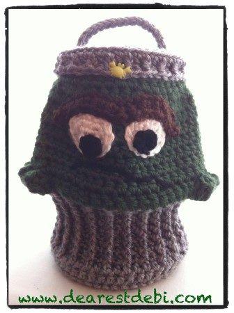 Crochet Oscar the Grouch Inspired Trash Can | Crochet Bags ...