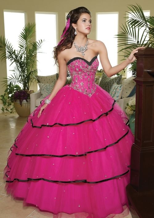 Pink and Black Quinceanera Dress  Birthday Ideas )  Pinterest ...