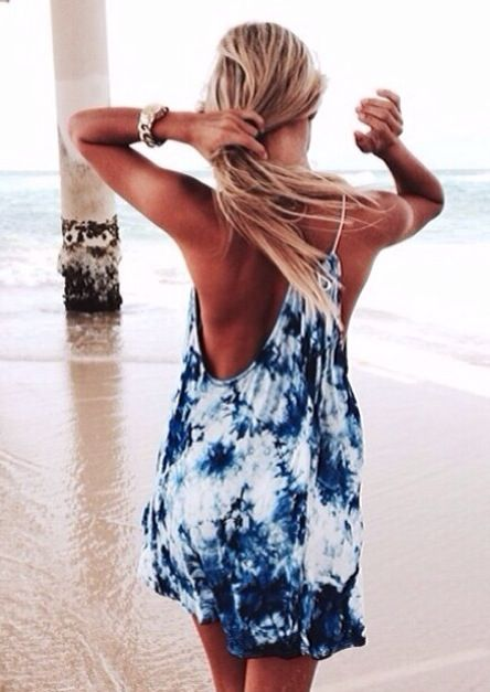 "Tie dyed beach dress. Gorgeous tan. (=^.^=) Thanks, Pinterest Pinners, for stopping by, viewing, re-pinning, & following my boards.  Have a beautiful day! ^..^ and ""Feel free to share on Pinterest ^..^  #women #topfashion #fashionandclothingblog:"
