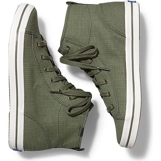 Keds KICKSTART HI RIPSTOP found on Polyvore featuring shoes, sneakers, olive, keds sneakers, olive green sneakers, flexible shoes, keds and keds shoes