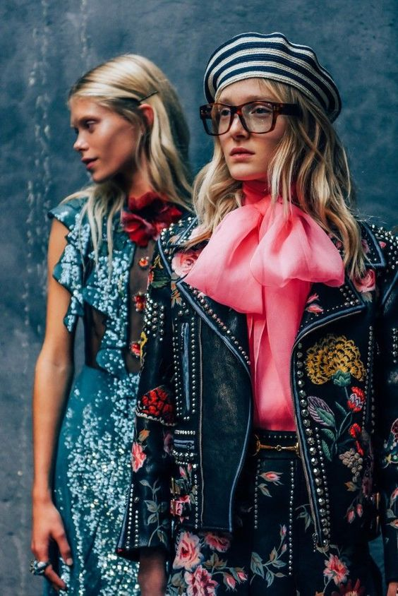 "This moto jacket is everything! - "" Looking at a 1970's way to do fabric from the 18th century"" - Gucci Spring 2016:"