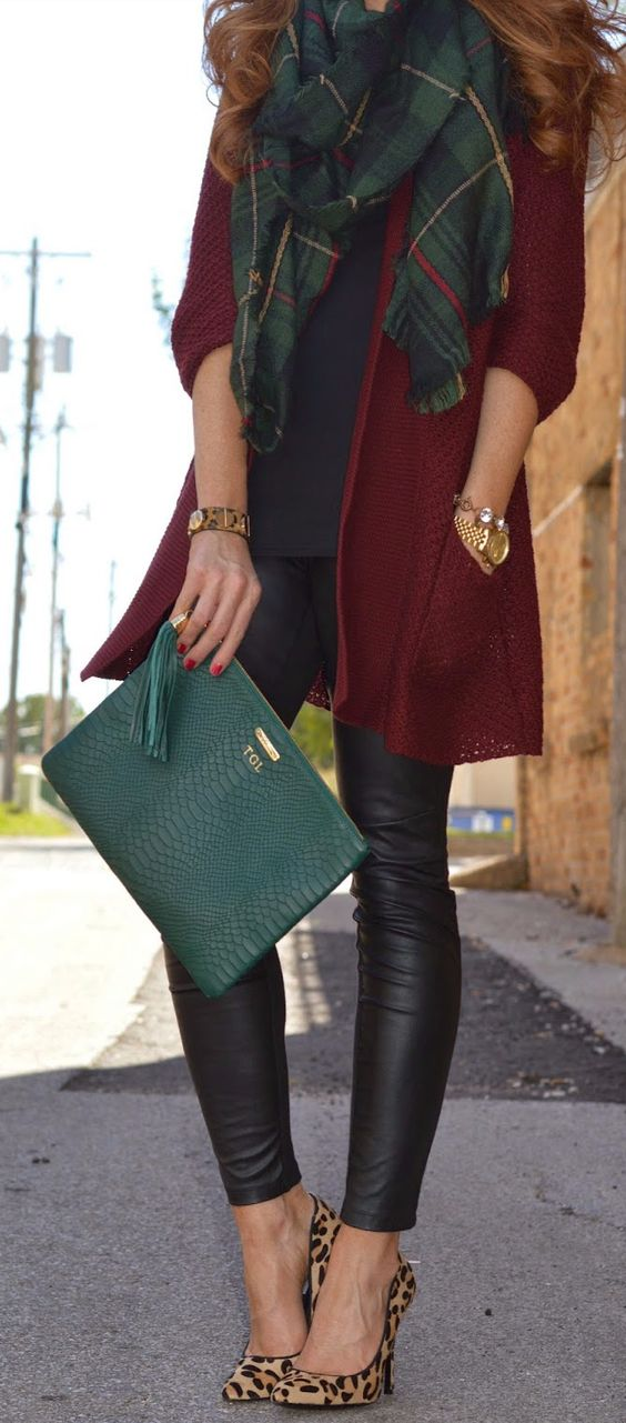 Great pleather leggings, plaid scarf combo, lots of color. Comfortable but stylish