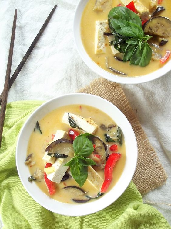 Thai Red Curry with Tofu and Eggplant