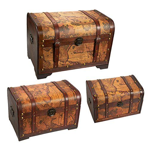 Wooden Chest Trunk 3piece Storage Trunk And Chests Map Pattern Antique Victorian Style Pirate Treasure Chest In Wooden Chest Trunks And Chests Storage Trunk