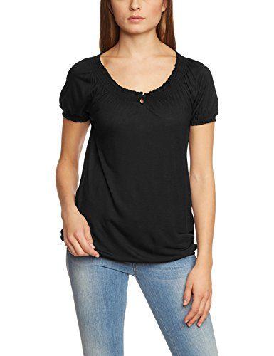 ESPRIT Damen T-Shirt 995EE1K908, Einfarbig, Gr. 40 (Herstellergröße: L), Schwarz (BLACK 001)