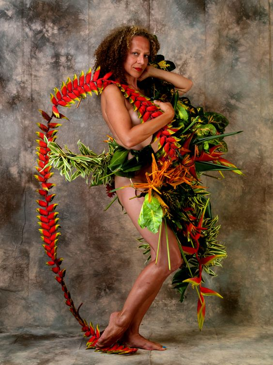"""""""The Birth Of Fashion Revisited"""" project of foliage Couture by Louda Larrain inspired by the exuberant nature of Kauai. Photography: Gilles Larrain (www.gilleslarrain...) Model: Olivia Larrain-Forsyth"""