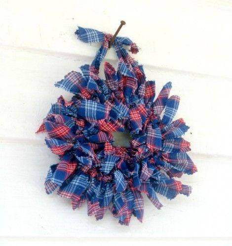 6 inch small plaid rag wreath