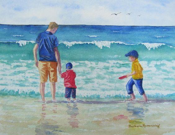 Beach Dad Son Boy Child Ocean Art Print Original Painting, Father Family Seashore Vacation Reproduction, Barbara Rosenzweig, Etsy