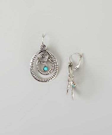 Another great find on #zulily! Silver & Turquoise Swirl Drop Earrings #zulilyfinds