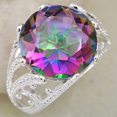 Jewelry gift Colored Mystic Topaz Gemstone .925 Silver Ring Sz 9