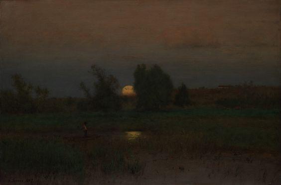 """catonhottinroof: """" George Inness (1825–1894) Moonrise, 1887 """""""