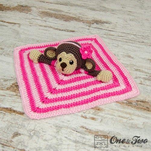 Crochet Baby Blanket Monkey Pattern : Lily the Baby Monkey Security Blanket Crochet Pattern ...
