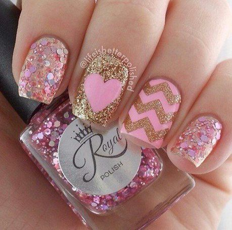 This nail look is almost trending this summer with the pastels contrasting to the gold detail, great for making your nails look fabulous.