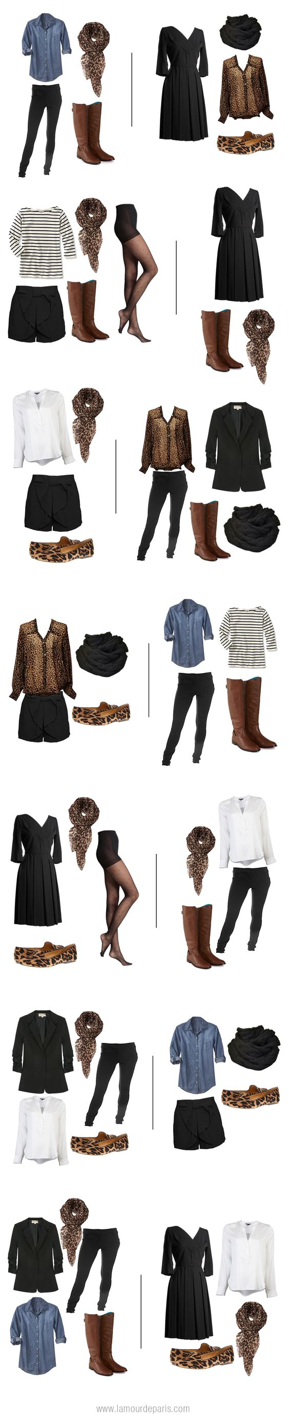 How to pack for Europe in a carry on suitcase only, also great capsule wardrobe.  Can use a fave color instead of leopard, change base color to suit complexion, etc