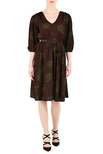 I <3 this Floral ruched pleat crepe dress from eShakti
