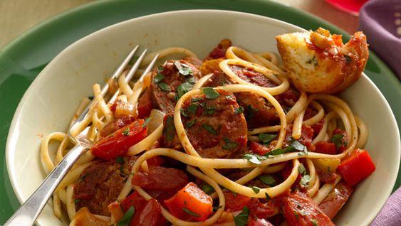 Sausage Ragout with Linguine