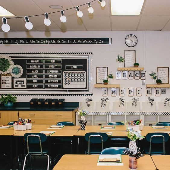 This Calendar Bulletin Board Set Makes It Easy To Keep Up With The Seasons Schedule And Weather With Modern Classroom Diy Classroom Diy Classroom Decorations