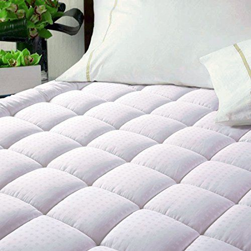 Easeland Luxury Hotel Quilted Mattress Pad Cover 300tc 100 Cotton Top Goose Down Alternative Filling Stretch U Mattress Pad Beautiful Mattress Mattress Topper
