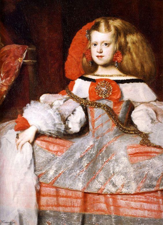 1660  Diego Vélasquez   et Martinez del Mazo  L'Infante Marguerite en rose et argent, détail