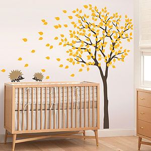 Tree With Two Little Hedgehog's Wall Sticker - office & study