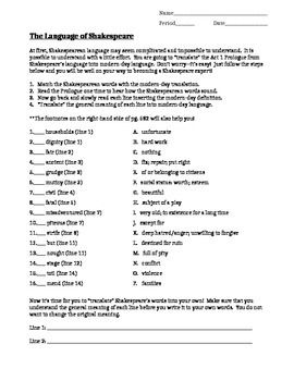 Collection Romeo And Juliet Prologue Worksheet Photos - Studioxcess