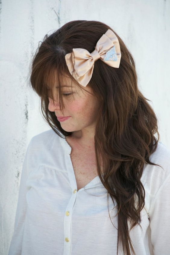 Lace corner in peachy gold hair bow alligator clip by UrbanCrowns, $7.00