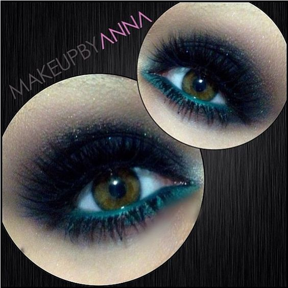 Sexy, luscious smoky eyes by Makeupbyanna using Sugarpill Bulletproof and Stella eyeshadows! Love that pop of teal on the waterline - really brings out her gorgeous eye color!