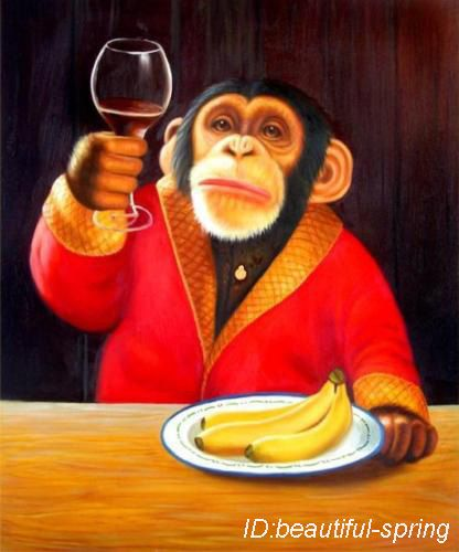Monkey Holding Wine Glass Painting