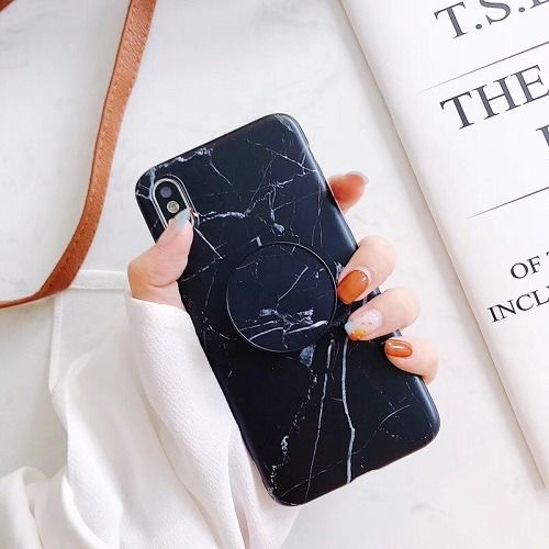 Black Marble Phone Case With Pop Up Holder For Iphone 11 Pro Max X Black Marble Iphone Case Marble Iphone Case Phone Cases Marble
