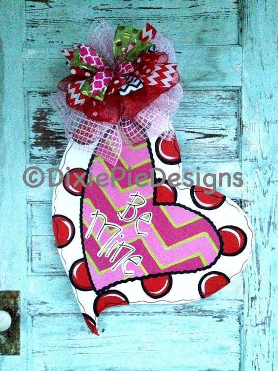 In Stock Valentine's Day Door Hanger by dixiepiedesigns on Etsy